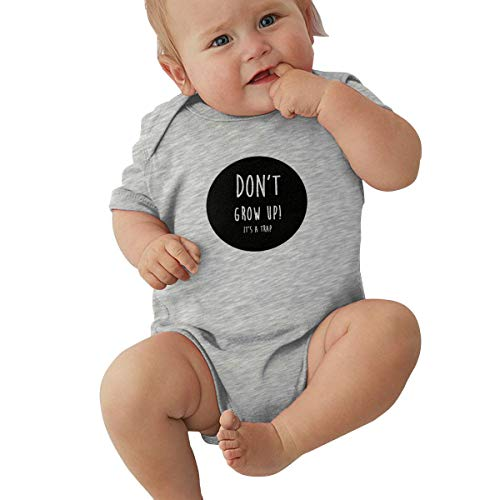 Unisex Baby Short Sleeve Bodysuits Don't Grow Up Its A Trap Funny Summer Boys Girls Onesies Gray