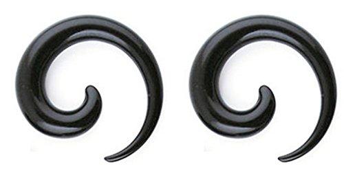Thenice Black Uv Resin Question Mark Snails Spiral Expansion Earrings Ears Amplifier Bars (16 mm) - Spiral Resin