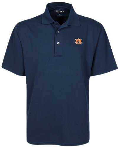 Oxford NCAA Auburn Tigers Men's Micro-Check Golf Polo, Classic Navy, Small