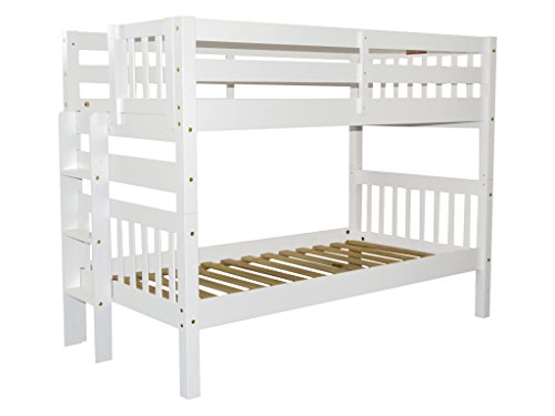 Bedz King Bunk Bed Twin over Twin with End Ladder, White