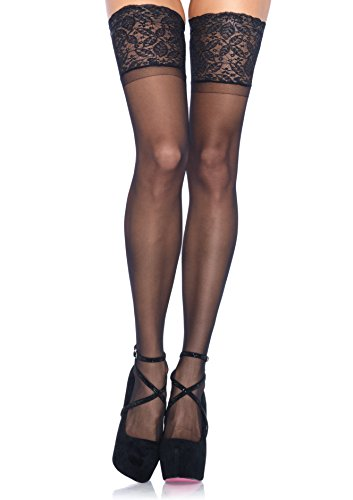 Leg Avenue Womens Plus Size Stay-Up Lace Band Top Thigh Highs
