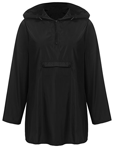 - UNibelle Womens Rain Poncho, Lightweight Waterproof Hooded Long Sleeve Solid Reversible Black M