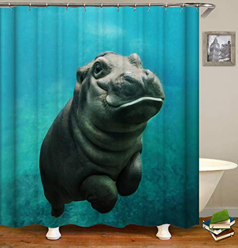 Lemoner Cute Baby Hippo in The Navy Sea. Shower Curtains Bath Curtain, Polyester Fabric Waterproof Shower Curtain for Bathroom, 72X72in, Shower Curtains Hooks Included.