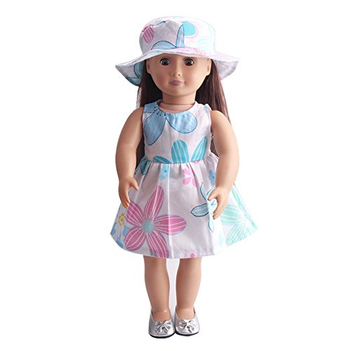 Londony Baby Girls Floral Dresses and Hat for 18 inch Our Generation American Girl Doll