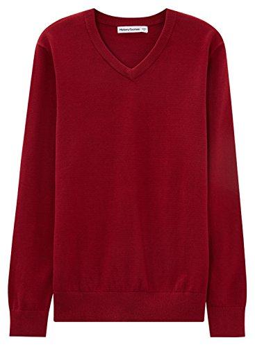 meters-bonwe-mens-casual-v-neck-long-sleeve-solid-color-sweater-burgundy-m