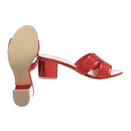Ital-Design Pantoletten Damenschuhe Pump Sandalen & Sandaletten Rot AB-92-1