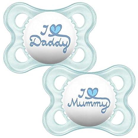 Estilo MAM 0 + M Chupete Azul 2 por paquete: Amazon.es: Bebé