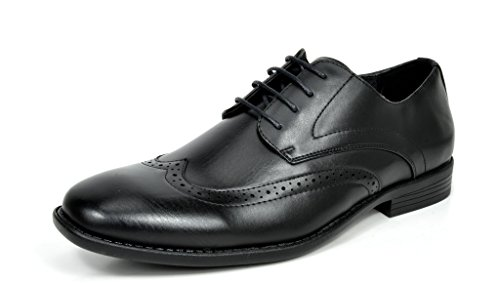 Bruno Marc DP08 Men's Formal Modern Leather Wing Tip Loafers Lace Up Classic Lined Oxford Dress Shoes Black Size 10.5