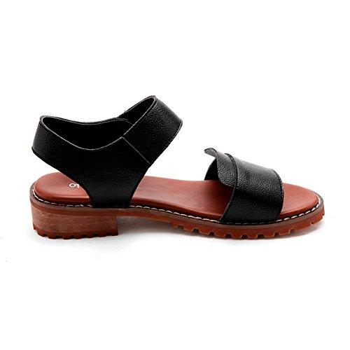 AgooLar Women's Open Toe Low Heels Hook And Loop Solid Sandals Black enjbN9jYs