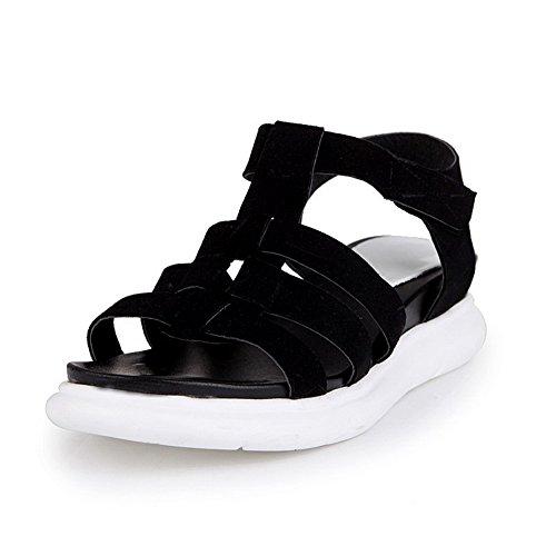 AgooLar Mujeres Velcro Puntera Abierta Plataforma Esmerilado Sólido Sandalia Negro