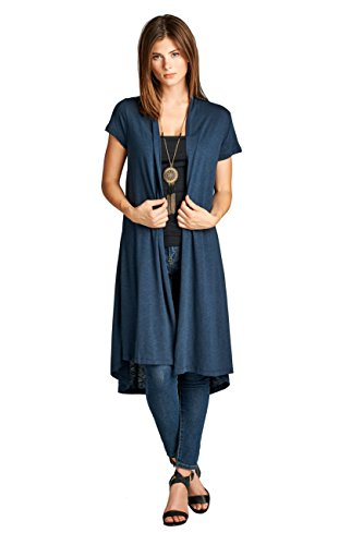 ReneeC.. Women's Lightweight Open Front Classic Short Office Cardigan - Made in USA (X-Large, Navy) (Sleeve Duster Short)