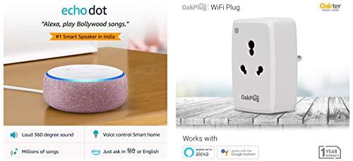 Echo Dot (Purple) bundle with Oakter 16A smart plug for heavy appliances