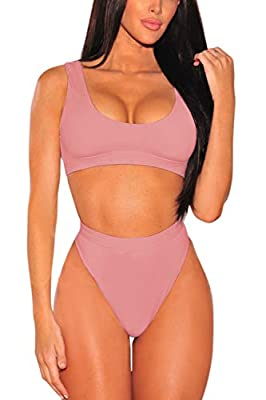 Pink Queen Women's Crop Top High Waisted Cheeky Bikini Set Two Piece Swimsuits