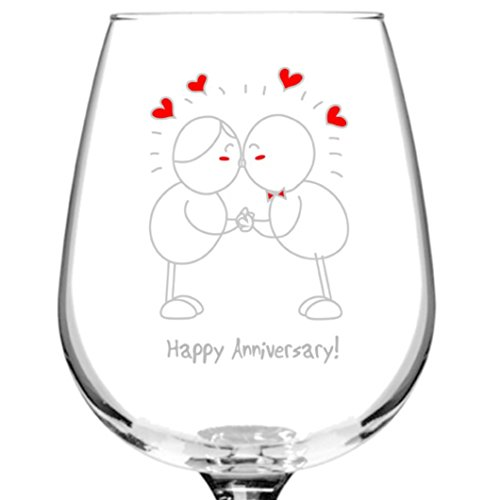 Happy Anniversary! Wine Glass- 12.75 oz. - Romantic Red or (Happy Anniversary Gift)