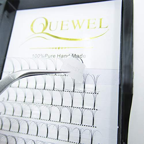 Quewel Lash Russian Volume Eyelash Extensions 5D D Curl 8-18mm Long Thickness 0.07 mm Premade Fans Volume Eyelashes Soft (5D-0.07-D, 12mm)