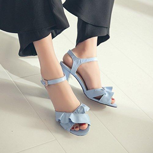 Easemax Para Mujer Elegante Volante Tobillo Hebilla Correa Peep Toe Mid Chunky Talón Sandalias Slingback Azul