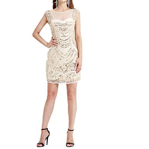Crazy, Dress for Women,Wedding Dress,Prom Party Dress,Women's Inspired Fringe Embellished Gatsby Flapper Midi Dress Beige ()
