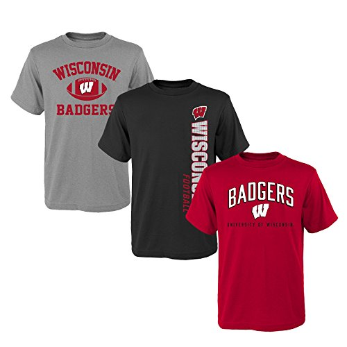 (Outerstuff NCAA Youth Boys 8-20 Wisconsin 3Piece Tee Set, M(10-12), Assorted)