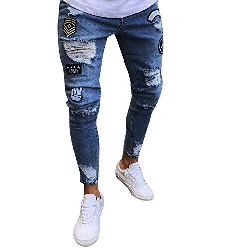 Sunhusing Men's Badge Holes Distressed Jeans Trousers Slim Skinny Zipper Denim Frayed Pants