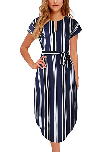 BOKALY Women's Midi Dresses Side Slit Floral Print Loose Casual Long Dress with Belt BK318 (XL, Navy Striped)