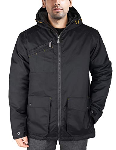 er Work Jacket Rain Coat Waterproof Insulated Parka with Hood Outerwear Size XL Black ()