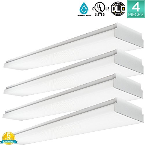 Pack Of 4 Luxrite 48W 4FT LED Wraparound Light Fixture, 4000K Cool White, 5040 Lumens, Damp Rated, 110-277V, Frost Cover, CRI80, UL Listed, DLC Listed (Eligible for Rebate Programs) by LUXRITE