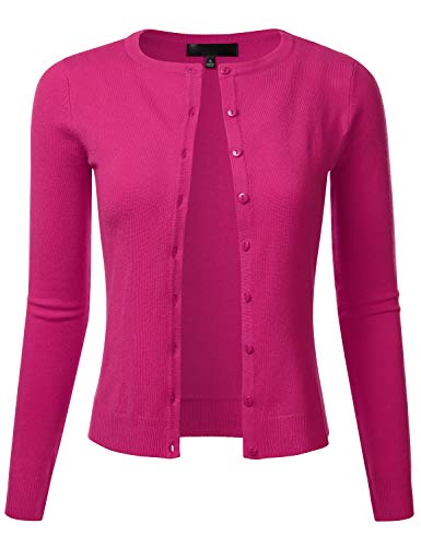 FLORIA Women's Slim Fit Long Sleeve Button Down Crew Neck Knit Cardigan Sweater Magenta L