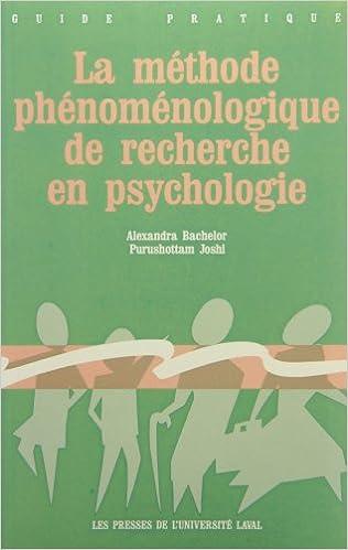 Lire La méthode phénoménologique de recherche en psychologie pdf