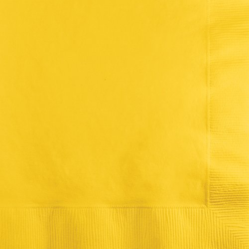 500-Count Touch of Color 3-Ply Paper Beverage Napkins, School Bus Yellow