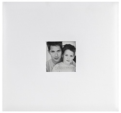 MCS MBI 13.5x12.5 Inch Fashion Fabric Scrapbook Album with 12x12 Inch Pages with Photo Opening, White (802519)