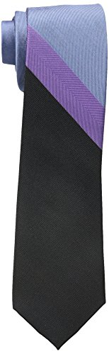 - Rooster Men's Color Block Stripe Necktie, Black, One Size