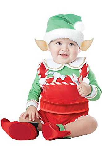 [California Costumes Unisex-Baby Infant Santa's Lil Helper, Green/Red, Medium(12-18)] (Childrens Santas Helper Costume)