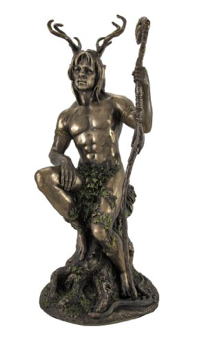 Bronzed Herne the Hunter with Walking Stick Statue