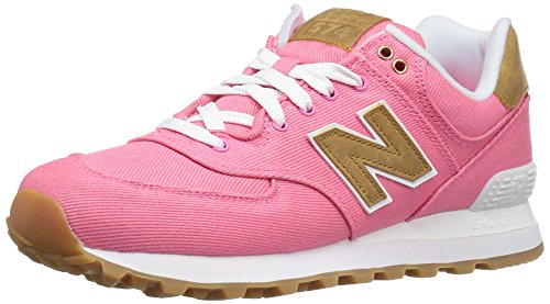 New Balance Women's WL574 Canvas Pack Sneaker, Solar Pink/Beeswax, 10 B US