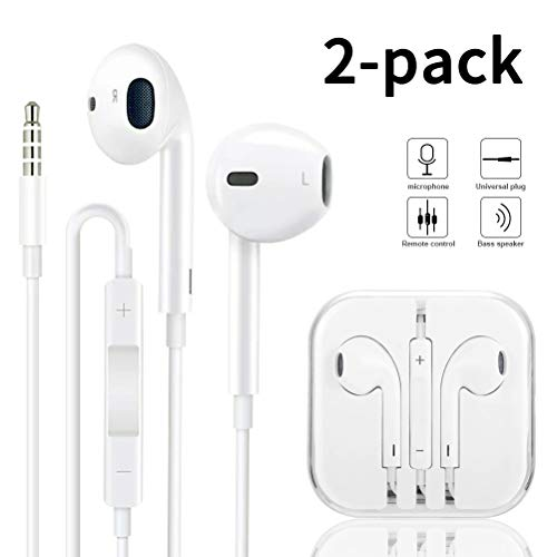2-Pack Headphones/Earphones/Earbuds/Headsets 3.5mm with Stereo Mic&Remote Control Compatible with iPhone 6s/ 6 Plus/ 5s/ 5c/ 5/ 4s/ SE iPad/iPod 7/ Samsung/Galaxy- White