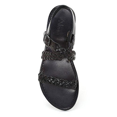 Alesya Scarpe&Scarpe - Cross-Strap Flat Sandals, in Leather Black