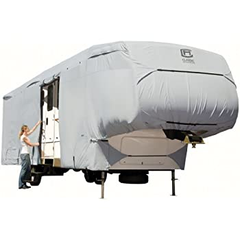 Classic Accessories OverDrive PermaPRO Deluxe Extra Tall 5th Wheel Cover, Fits 33' - 37' RVs - Lightweight Ripstop and Water Repellent RV Cover (80-186-181001-00)