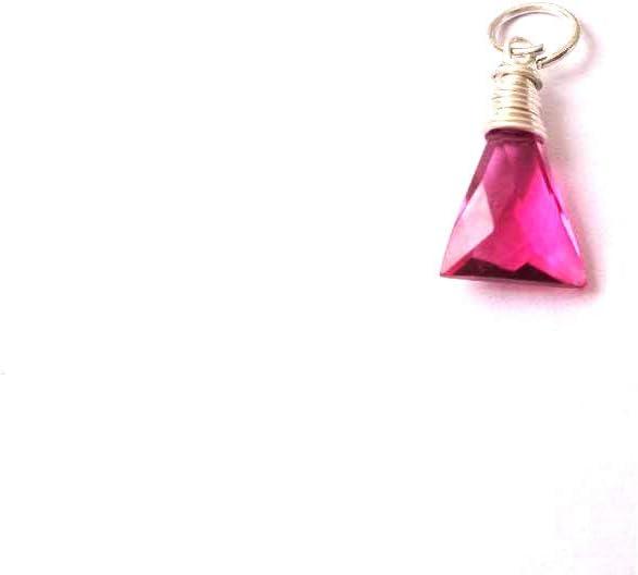 Colgante de alambre de turmalina rosa, colgante relleno de plata, regalo para ella