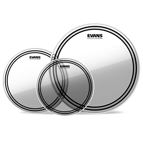 Evans EC2 Tompack, Clear, Rock (10 inch, 12 inch, 16 inch) (Best Snare Drum Head For Rock)