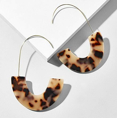 Monowi Bohemian Acrylic Resin Round Hoop Earrings Tortoise Shell Leopard Colorful Disc | Model ERRNGS - 5284 |