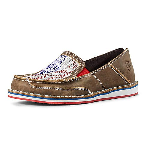 ARIAT Women's Sequin Stars and Stripes Cruiser Shoes Moc Toe Brown/Blue 9.5 M