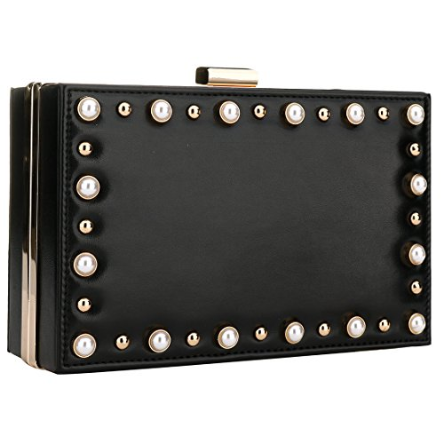 Black Women Evening Evening Clutches Beaded Wedding Prom Women Leather Girls for Cocktail Handbag Purse Pearl qwtprqZ6