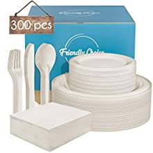 Disposable Dinnerware Set Sugarcane Compostable Paper Plates 9 Inch Dinner & 7 Inch Dessert Plate for Party, BBQs, Picnic Heavy Duty Cutlery, Fork, Knife, Spoon and Napkins - 50 Guests