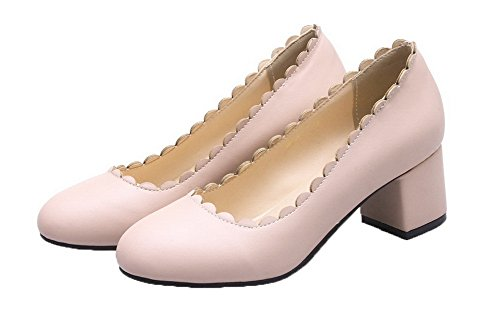 Round Heels Pumps Shoes Women's Solid Closed Kitten Pull Pink PU On WeenFashion Toe tT0qOww