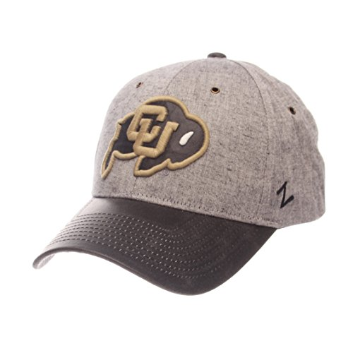 Zephyr NCAA Colorado Buffaloes Adult Men The Supreme Cap, Adjustable, Gray - Colorado Buffaloes Mens Leather