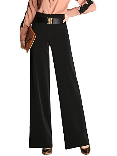 Women's High Waist Fashion Flare Wide Leg Palazzo Pants Slacks Bootcut Trousers Black Tag 3XL-US (Wide Leg Gabardine Pant)