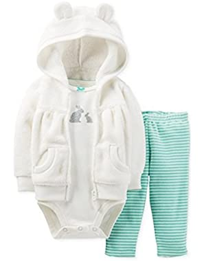 Carters Infant Girls 3 Piece Set White Bunny Rabbit Hoodie Leggings & Shirt