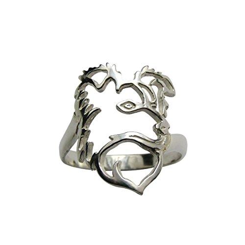 H&H jewellery Border collie I. bague d'argent rhodi - 53; Bigouterie d'argent - Bague (titre 925/1000)