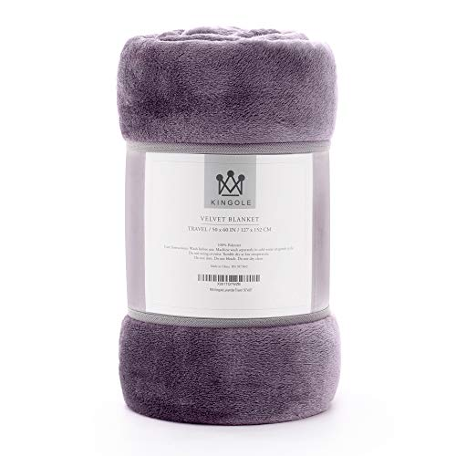 """Kingole Flannel Fleece Microfiber Throw Blanket, Luxury Lavender Purple Travel/Throw Size Lightweight Cozy Couch Bed Super Soft and Warm Plush Solid Color 350GSM (50""""x60)"""