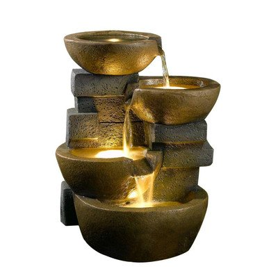 Jeco Inc. Zen Tiered Pots Fountain with LED Light